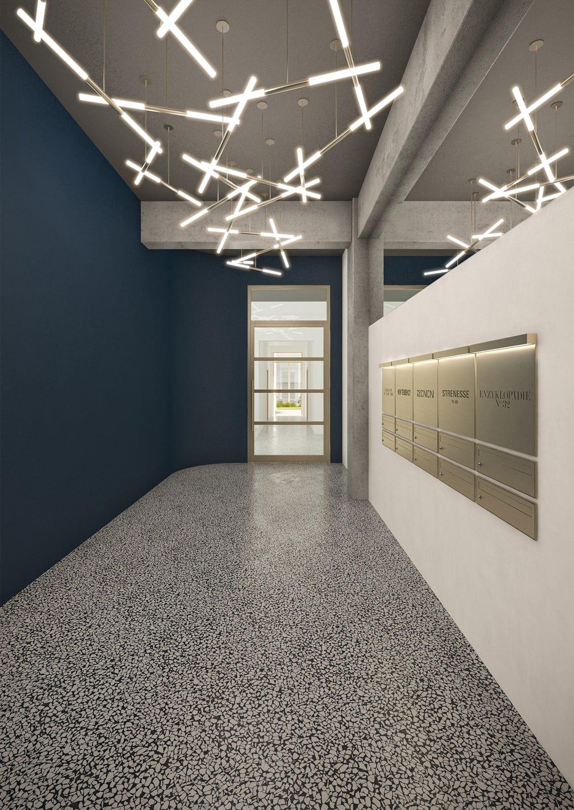 archiv-b franz sonnenstrasse umbau rendering Foyer